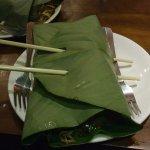 Noodles wrapped in banana leaf