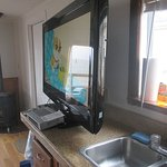 tv was so big they set on counter, so no usable counter space, thing also wobbled,,