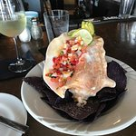 The shrimp and conch ceviche with house-made blue corn chips. Delicious!