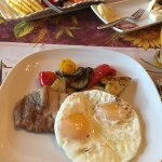 Breakfast - fried eggs w/ grilled vegetables and pork loin