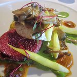 Halibut with Beet Polenta cake