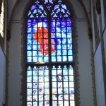 The stained glass was more modern than most churches but one of the most beautiful features.
