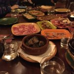 A table full of tapas at one of our stops.
