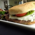 The Alpine Burger with salad