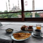 Breakfast room with view of Hagia Sophia and the Blue Mosque