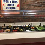 Salad bar; clean and well stocked.