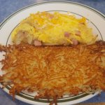 Ham and Cheese Omelet with Hash Brown Potatoes