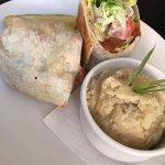 Vegan Buffalo Chicken Wrap with Garlic Mashed Potatos