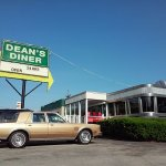 Dean's Diner, Classic Chrysler at classic diner, Dean's Diner, stainless steel, jade green, Fedo