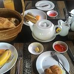 the breakfast-fresh fruits/breads/hot coffee and juices