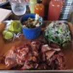 Barbecue chicken with broccoli cheese casserole and farm salad