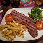 Rare rump steak