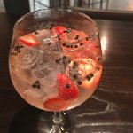 Martin Miller G&T with strawberries and peppercorns