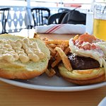 Surf and turf burger with perfect fries.