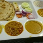 Rawat rajasthi thali rs 300. 3 roti,veg curry gatte, paneer, kadhi,dal,sweet,gatte rice and rait