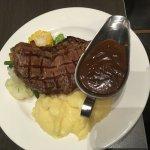 steak with mash and veggies