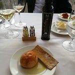 Bread dipped on virgin olive oil