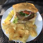 Jamaican burger with kettle chips ($13)