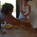 My wife Brittany making pasta with Silvia.