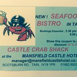 Mansfield Castle Crab Shack  All the best shellfish and fresh fish from the local area.
