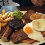 My husband had this mixed grill today  ( gammon steak rump steak 2 sausages 2 livers 2 eggs  lam