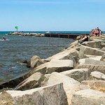 New Buffalo Beach breakwater