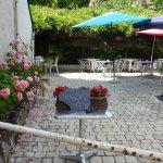terrasse ombragée pavée et fleurie...60 couverts+ terrasse + salle reception