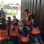 Phil giving a safety talk to the children before we go round the farm
