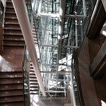 Modern atrium and lift.