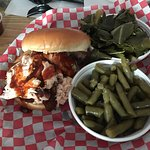 Variety of pics of our visit during rush hour. Pics of menu, chicken sandwich and  smoked chicke