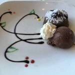 Chocolate lava cake and gelato