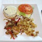 Kobe burger with potatoes and mushrooms