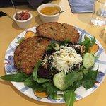 The special that day - two quinoa patties, aji Windhorse (pronounced ah-hee, it's an Ecuadorian