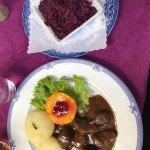 Venison and potato dumplings, red cabbage , salad,  and then the fresh out of the oven apfelstru