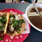 Lamb Barbacoa tacos with consume and a chorizo quesadilla. Hand-made tortillas and lots of flavo