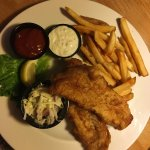Haddock, chips and cole slaw