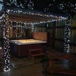 Hot tub at night cabin 2