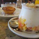 Yoghurt cup and Pasteis de Nata