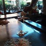 Humorous chef, delicious teppanyaki.