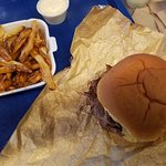 Pit beef sandwich, French fries with gravy