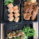 Sushi, fried chicken, sushi
