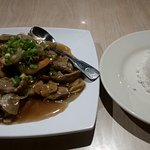 Pad Nam Mun Hoy (Oyster Sauce) entree with beef and extra shrimp.