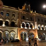 Rossio station's main entrance at night