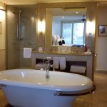 Large bathroom with double vanity and lovely thick bath towels
