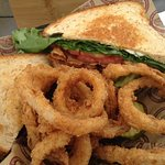 Fabulous onion rings and a thick BLT
