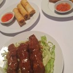 entree- duck spring roll (special), satay chicken, prawn and crab cakes