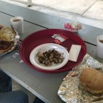 Egg Sandwiches with Home Fries and Coffee