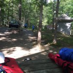 Tent site C3 platform and view of bath house, view from Molly's Knob trail and kayak tour and be