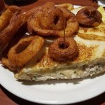 Tuna Melt Sandwich with Onion Rings