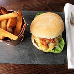 Delicious burgers and triple cooked chips